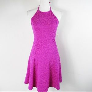 T275 SO Fuchsia Daisy Lace Halter Dress M